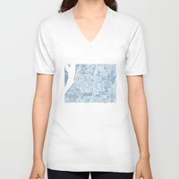 blueprint V-neck T-shirts featuring Memphis Tennessee blueprint watercolor map by Anne E. McGraw