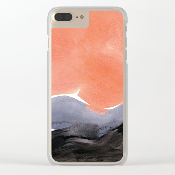 orange blue graphite Clear iPhone Case
