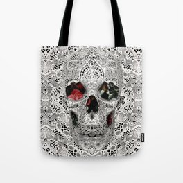 Lace Skull Light Tote Bag