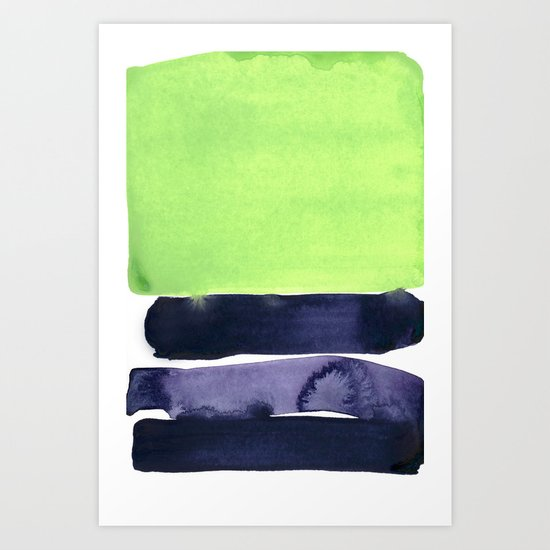 green & violet Art Print