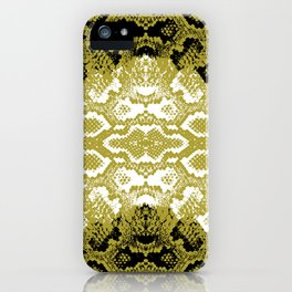 Snake skin scales texture. Seamless pattern black yellow gold white background. simple ornament iPhone Case