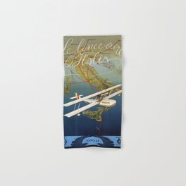 Vintage 1920s Island plane shuttle Italian travel Hand & Bath Towel