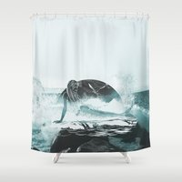 mermaid Shower Curtains featuring Mermaid by fly fly away