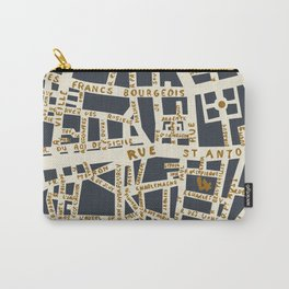 PARIS MAP GREY GOLD Carry-All Pouch