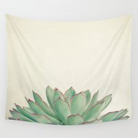cassia beck Wall Tapestries featuring Echeveria by Cassia Beck