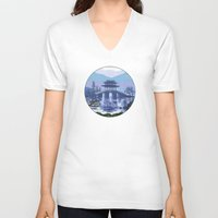 japanese V-neck T-shirts featuring Japanese landscape by Savousepate