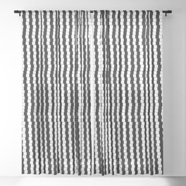 Offset Black and White Lines, Hypnotic Block Pattern Illustration Sheer Curtain