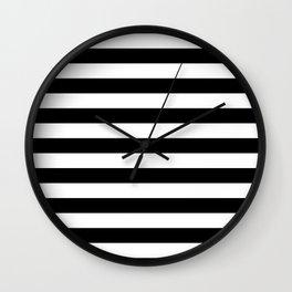 Large Black and White Horizontal Cabana Stripe Wall Clock