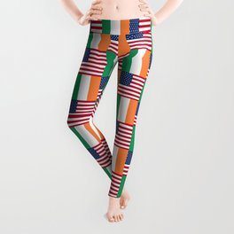 Mix of flag: usa and ireland Leggings