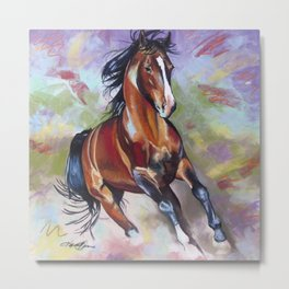 Contemporary Stallion Horse Painting Metal Print