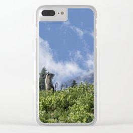 Marmot Checking Out His Neighborhood at Mount Rainier, No. 1 Clear iPhone Case