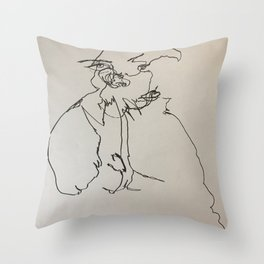 Blind Contour Subject Throw Pillow