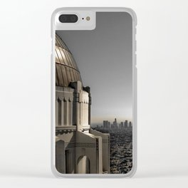 Griffith Park Observatory with Downtown LA Skyline Clear iPhone Case