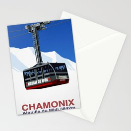 Chamonix Ski Resort , Aiguile du Midi Cable Car Stationery Cards