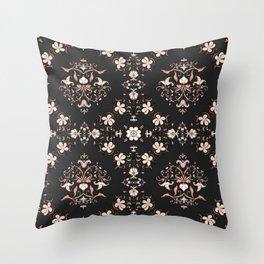 Vintage Floral - Black Throw Pillow