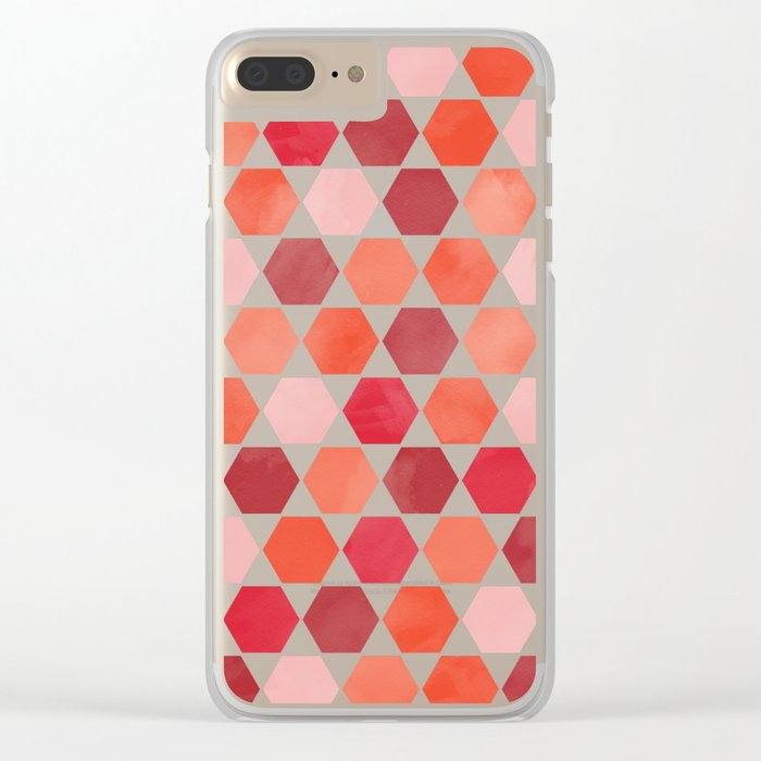 Red Tiles Clear iPhone Case