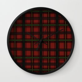 Christmas Plaid Red Wall Clock