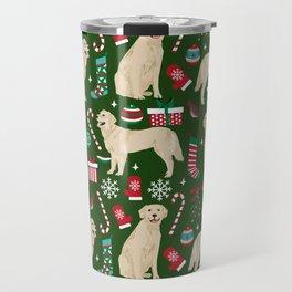 Golden Retriever festive christmas dog illustration pet portrait pet friendly gifts for dog breed Travel Mug