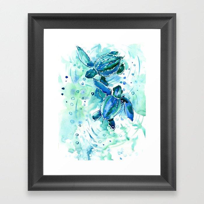 Turquoise Blue Sea Turtles in Ocean Gerahmter Kunstdruck