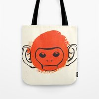 monkey Tote Bags featuring Monkey by James White