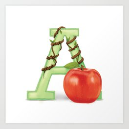 A is for Apple Art Print