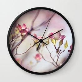 Pink Dogwood Flower Photography, Pastel Lavender Floral, Spring Nature Art Wall Clock