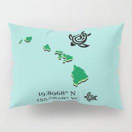 Hawaii Map Coordinates Pillow Sham