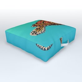 Sea Turtle Totem Outdoor Floor Cushion