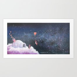 Penguin Lovers and Their New Home in the Stars Art Print