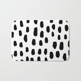 Spots black and white minimal dots pattern basic nursery home decor patterns Bath Mat