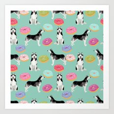 Husky donuts cute dog portrait pet friendly dog art husky puppies must have gifts for dog lover Art Print
