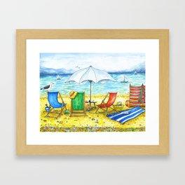 Deckchairs Framed Art Print
