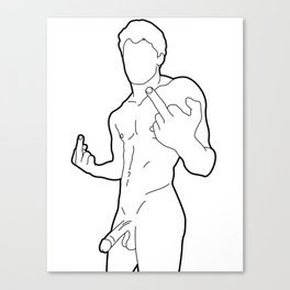 Skinflint Middle Finger Boner Canvas Print