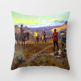"""""""Caught With the Goods"""" by Charles M Russell Throw Pillow"""