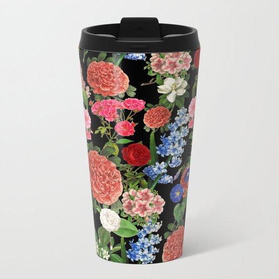 Botanical Pattern Metal Travel Mug