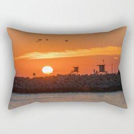 Seagulls Over the Wedge at Sunset Rectangular Pillow