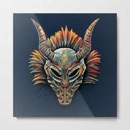 Killmonger Tribal Mask Metal Print