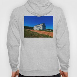 Barn and Red Sands under Blue Skies Hoody
