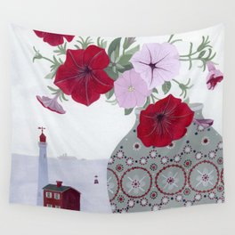 Petunias and Seascape Wall Tapestry
