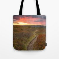 Tote Bags featuring Dolly Sods Twilight Trail by Nicolas Raymond
