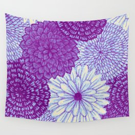 Watercolor Bouquet - Violet Wall Tapestry