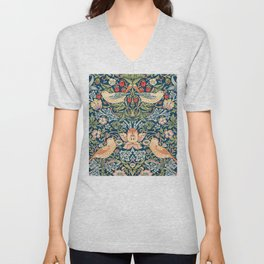 The strawberry thieves pattern by William Morris. British textile art. Unisex V-Neck