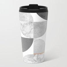 Marble Gray Copper Black and white circles Metal Travel Mug