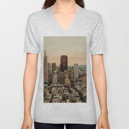 Vintage San Francisco Cityscape (Color) Unisex V-Neck