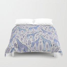 Blue Giraffe Pattern Duvet Cover