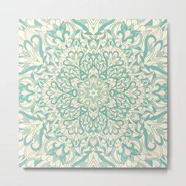 Green Pastel Unique mandala Metal Print