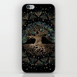 Tree of life -Yggdrasil Golden and Marble ornament iPhone Skin
