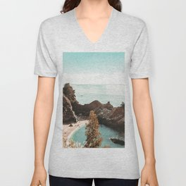 California Coast | Big Sur McWay Falls Coastal Camping Road Trip Tapestry Art Print Unisex V-Neck