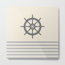 AFE Gray Helm Wheel Metal Print
