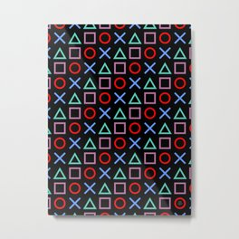 Gamer Pattern (color on black) Metal Print